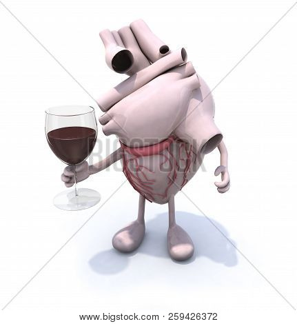 Red Wine And Resveratrol: Good For Your Heart!, 3d Illustration