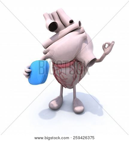 Heart With Arms And Legs And Big Blue Pill On Hand, 3d Illustration