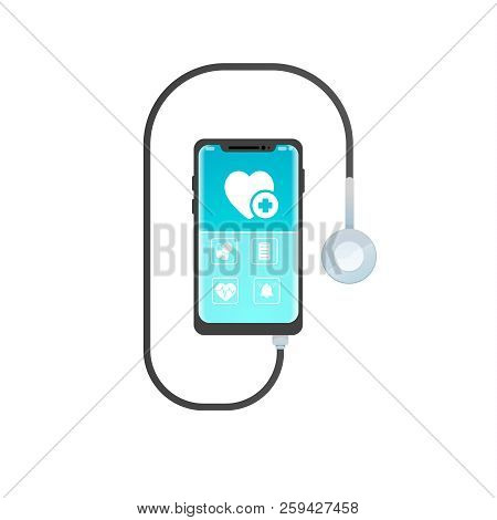 Smartphone Mobile Healthcare Application With Icon Pills, Emergency Call ,  Heartbeat. Stethoscope I