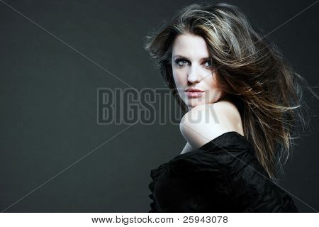 Young attractive woman with long hair.