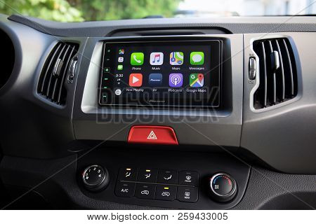 Alushta, Russia - September 20, 2018: Car Play On The Multimedia System With Google Maps On The Scre
