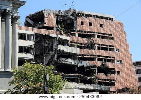 Belgrade, Serbia - August 15, 2012: War Destruction In Belgrade, Serbia. The Yugoslav Ministry Of De