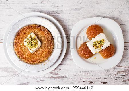 Delicious Traditional Turkish Dessert, Kunefe And Kemal Pasha Dessert