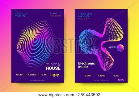 Electronic Music Party Poster With Colorful Equalizer. Vector Background For Night Sound Event. Grad