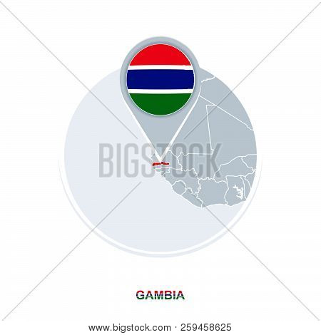 Gambia map and flag, vector map icon with highlighted Gambia poster