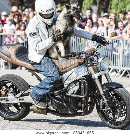 Le Trait, Seine Maritime, Normandy, France - Sepember 01, 2018. Moto-show In Central Square Of City.