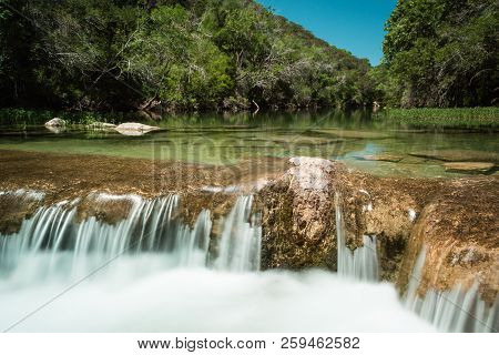 Small Cascade On Barton Creek In Austin, Texas
