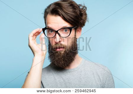 Eccentric Teacher Or Quirky It Guy. Bearded Hipster Dude Wearing Cat Eye Glasses. Stylish Modern Fas