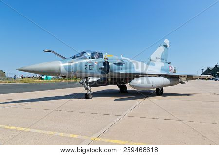 Nancy, France - Jul 1, 2018: French Air Force Dassault Mirage 2000 Fighter Jet On The Tarmac Of Nanc
