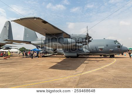 Fairford, Uk - Jul 13, 2018: Us Air Force Lockheed Hc-130h Combat Search And Rescue Plane Of The 39t