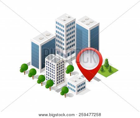 Navigation City Map Signpost Pin In Isometric
