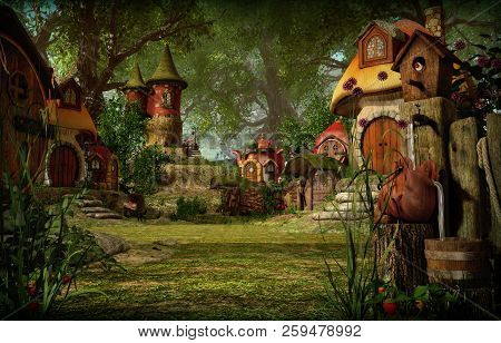 3d computer graphics of a village with elves cottages poster