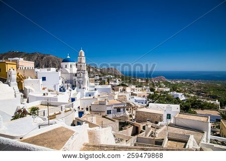 Panoramic view  on the center of the Greek village  Emporio at Santorini island, Greece.