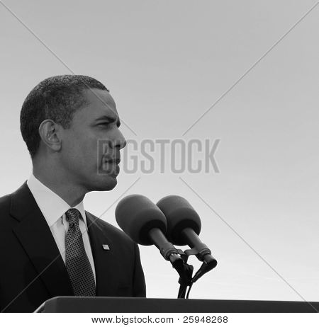 PRAGUE, CZECH REPUBLIC-APRIL 5: U. S. president Barack Obama gives speech during his visit on April 5, 2009 in Prague, Czech Republic.
