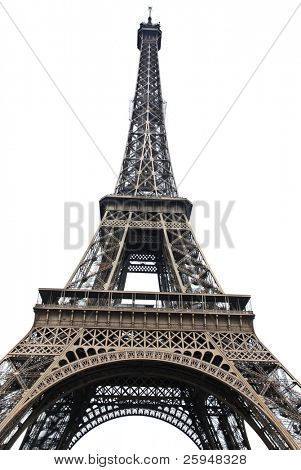 Famous Eiffel Tower of Paris isolated on white poster