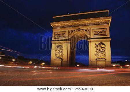 Beautiflully lit Triumph Arch at night. Paris, France.