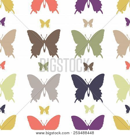 Set Of Flat Vector Objects Of Colored Multicolor Butterflies