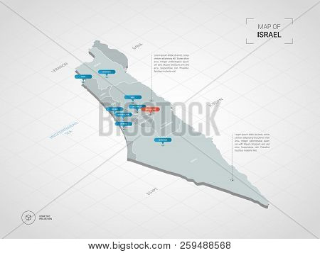 Isometric  3d Israel Map. Stylized Vector Map Illustration With Cities, Borders, Capital, Administra