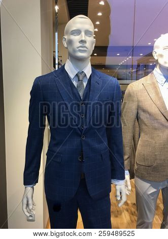 men clothing fashion store with suit