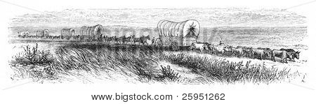 Wagopns traveling on prairie. Illustration originally published in Ernst von Hesse-Wartegg's