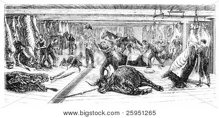"A Slaughterhouse in Chicago. Illustration originally published in Ernst von Hesse-Wartegg's ""Nord Amerika"", swedish edition published in 1880. poster"