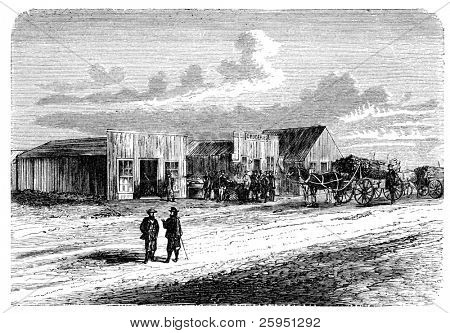 "A View from Doge City, Kansas, USA. Illustration originally published in Hesse-Wartegg's ""Nord Amerika"", swedish edition published in 1880. The image is currently in public domain. poster"