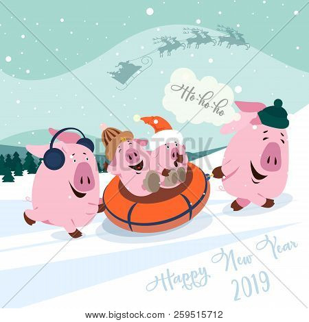 Christmas Set Of Cute Little Pigs. New Year Symbol. Vector Illustration Of A Pig-a Symbol Of The Chi