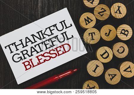 Text Sign Showing Thankful Grateful Blessed. Conceptual Photo Appreciation Gratitude Good Mood Attit