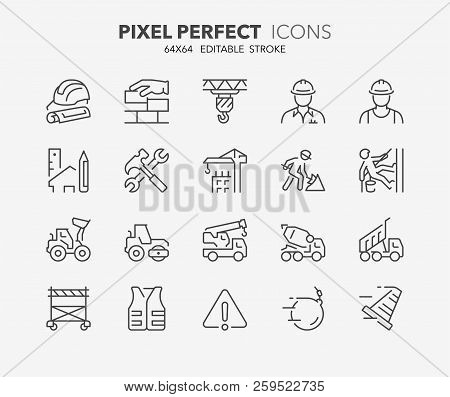 Thin Line Icons Set Of Construction And Architecture. Outline Symbol Collection. Editable Vector Str