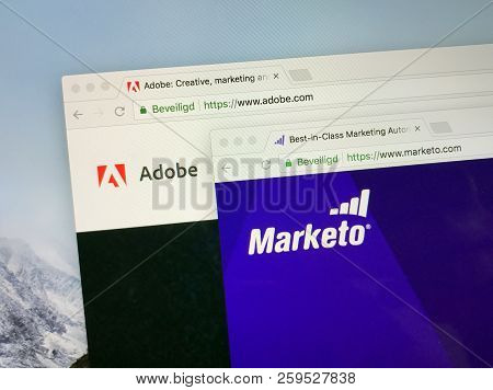 Amsterdam, The Netherlands - September 22, 2018: Official Websites Of Adobe En Marketo. Adobe Acquir
