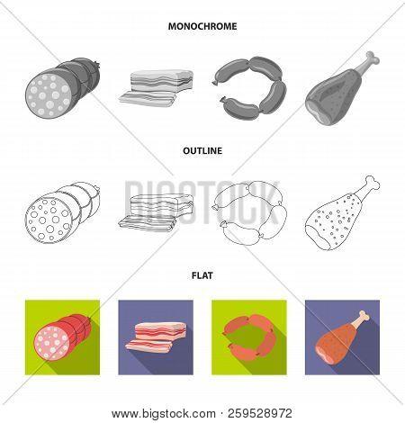 Vector Illustration Of Meat And Ham Symbol. Set Of Meat And Cooking Stock Vector Illustration.