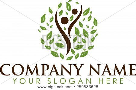 Organic People Logo People Logo Tree Logo Vector Logo Template. Healthy Person People Tree Eco And B