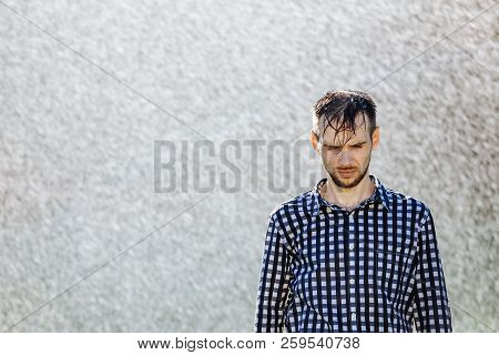 Man Under Rain Upset Wet Water Shower Sun Summer Sad Lonely Disappointed Lonliness Courageous Lover