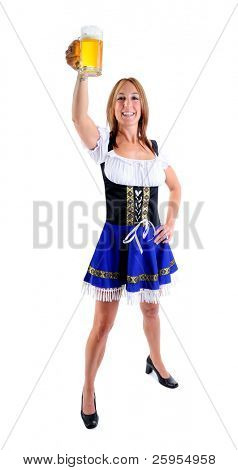 Beautiful Woman Wearing A Traditional Blue Dirndl Costume For Oktoberfest Celebrates Holding A Beer Stein