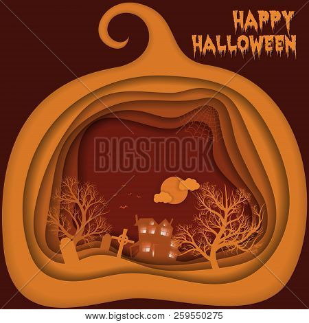 Halloween Night Background With Pumpkin, Hounted House And Moon. Paper Art, Carving Style. Flyer Or