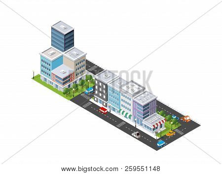 Isometric Illustration Of The Modern City. Dimensional