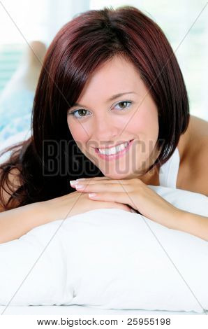Beautiful Happy Redhead Young Woman Lying In Bed