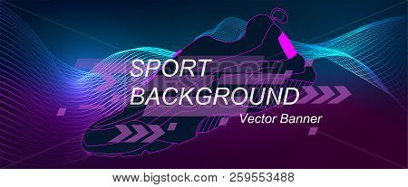 Amplitude Abstract Background With A Colored Dynamic Waves. Poster For Sports. Abstract Soundtrack W