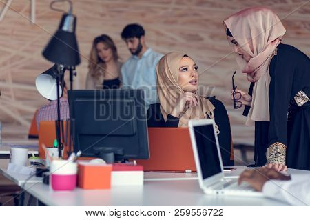 Young Creative Startup Business People On Meeting At Modern Office Making Plans And Projects
