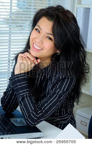 Beautiful Young Asian Business Woman Smiling