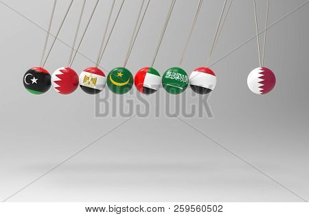 3d Rendering. Before Hitting Of Some Middle East Flags  Pendulum To Qatar Sphere Ball. Bully, Banned