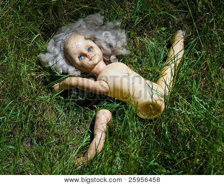 Partitioned blonde doll with blue eyes lie in the grass