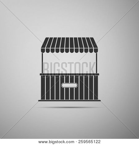 Street Stall With Awning And Wooden Rack Icon Isolated On Grey Background. Kiosk With Wooden Rack. F