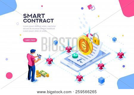 Cryptography Infographics, Contract Concept. Contractor Develop Payment Deal. Pay Chain To Block Doc