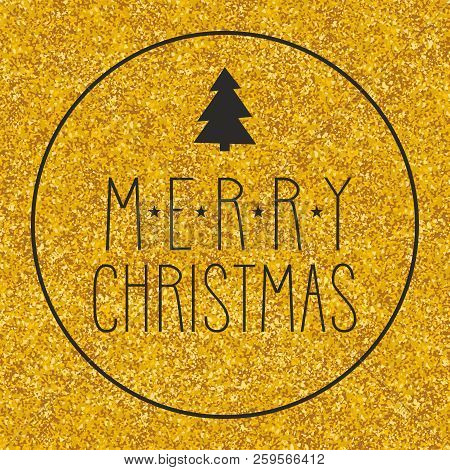 Merry Christmas Wishes Vector Card With Golden Background