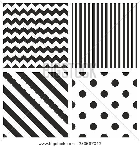 Tile Vector Pattern Set With Black And White Polka Dots, Zig Zag And Stripes Background