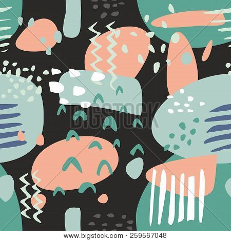 Tile Abstract Modern Pastel Vector Pattern Or Hand Drawn Color Splash On Black Background