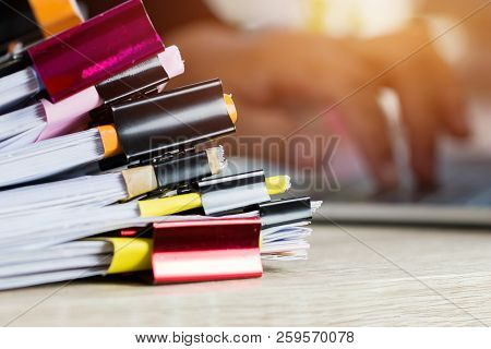 Stacks Of Papers Documents Files Information Business Report Papers With Color Clips Paper, Piles Of