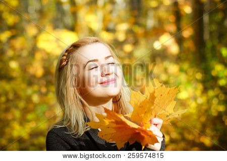Happy Young Woman In Park On Sunny Autumn Day. Cheerful Beautiful Girl In Gray Sweater Outdoors On B