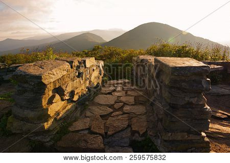 The Blue Ridge Parkway Road Cutting Through The Appalachian Mountains. View From The Craggy Pinnacle